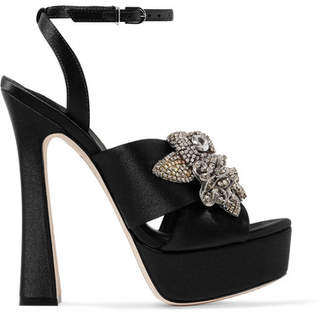 Sophia Webster Lilico Crystal-embellished Satin Platform Sandals - Black