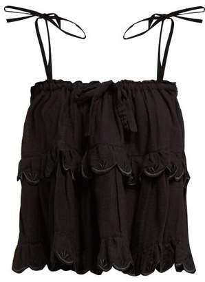 Innika Choo Stella Scalloped Edge Tiered Cotton Top - Womens - Black