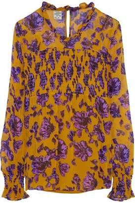 Baum und Pferdgarten Shirred Floral-Print Georgette Blouse