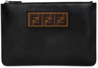 Fendi Ff Embroidered Leather Pouch