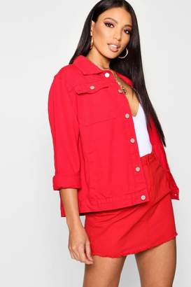 boohoo Rich Red Denim Jacket