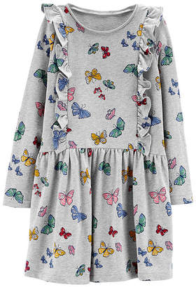 Carter's Butterfly Print Dress - Preschool Girls Short Sleeve A-Line Dress Girls