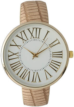 BEIGE OLIVIA PRATT Olivia Pratt Womens Gold-Tone White Dial Croc-Embossed Leather Strap Watch 14328