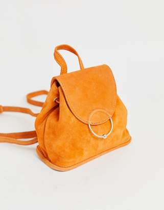 Asos Design DESIGN suede mini backpack with ring and ball detail