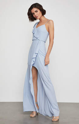 BCBGMAXAZRIA One Shoulder Draped Ruffle Gown
