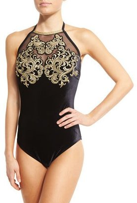 Gottex Velvet High-Neck One-Piece Swimsuit $438 thestylecure.com
