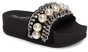 Women's Jeffrey Campbell Edie Embellished Platform Slide Sandal $84.95 thestylecure.com