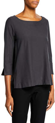 Eileen Fisher Boat-Neck 3/4-Sleeve Washable Crepe Tunic