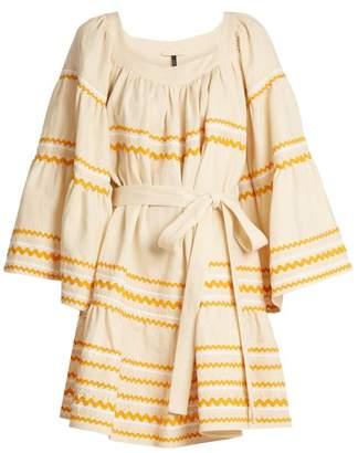 Lisa Marie Fernandez Ric Rac Trimmed Ruffled Linen Dress - Womens - Beige Multi
