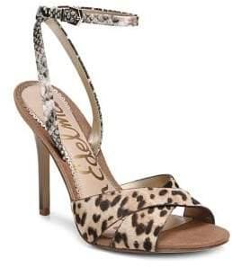 13effada5 Sam Edelman Leopard-Print Leather   Calf-Hair Ankle Strap Sandals