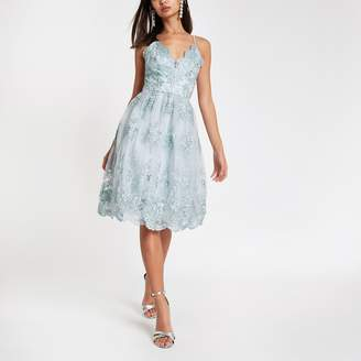 River Island Womens Chi Chi London Blue lace floral prom dress
