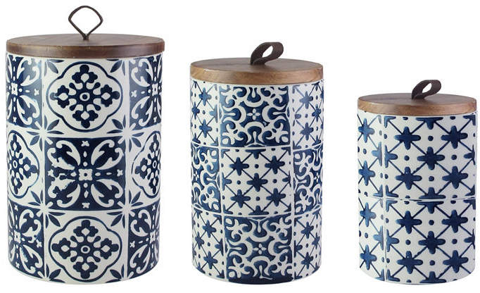 American Atelier Blue Medallion 3 Pc Canister Set