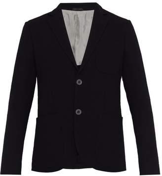 Giorgio Armani Corded Single Breasted Virgin Wool Blend Blazer - Mens - Navy