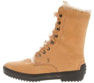 Tod's Suede Lace-Up Ankle Boots