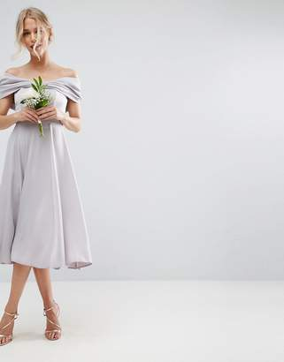 Asos DESIGN Bridesmaid bow front soft midi prom dress