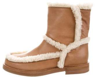 MM6 MAISON MARGIELA MM6 by Maison Martin Margiela Shearling-Linked Round-Toe Ankle Boots
