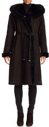 Gorski Hooded Shearling Lamb Coat with Suede Belt