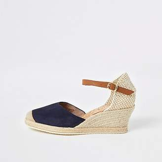 fbc552cea9ef River Island Ravel navy espadrille wedge sandals