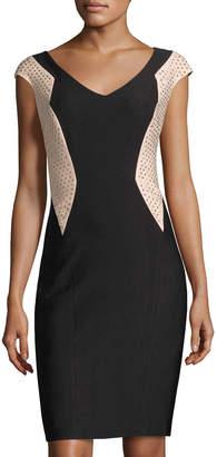 JAX Embellished Colorblock Sheath Dress, Black/Pink $99 thestylecure.com