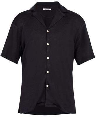 Hecho - Cuban Collar Knitted Linen Shirt - Mens - Navy