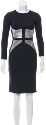 Cushnie et Ochs Leather-Paneled Stretch Knit Dress