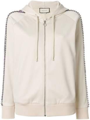 Gucci Cream Crystal Stripe Zipped Sweatshirt