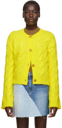 Sjyp Yellow Cable Knit Cardigan