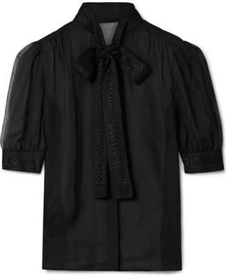 Dolce & Gabbana Lace-trimmed Silk-blend Georgette Blouse - Black