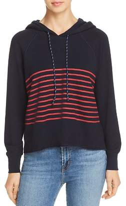 Sundry Striped Raw-Edge Hooded Sweatshirt