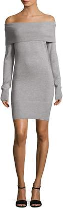 Qi Ribbed Off-the-Shoulder Sweater Dress