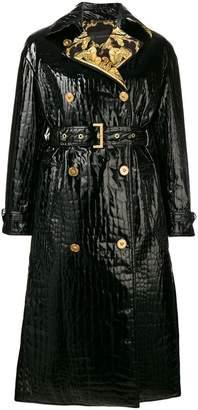 Versace Mock Croc vinyl trench coat