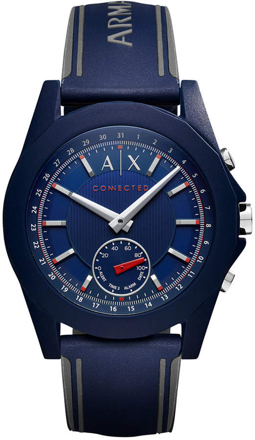 Armani Exchange A X Armani Exchange Men's Connected Blue Silicone Strap Hybrid Smart Watch 44mm AXT1002