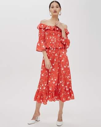 Topshop Shirred Floral Print Bardot Dress