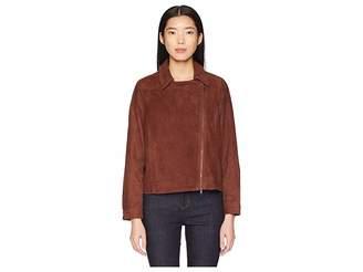 Eileen Fisher Soft Suede Stand Collar Short Zip Jacket