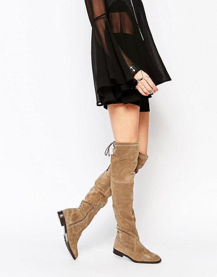 AldoALDO Barra Taupe Suede Flat Over The Knee Boots