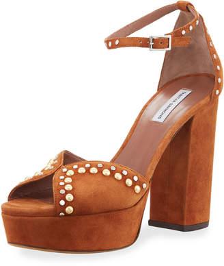 Tabitha Simmons Julieta Studded Platform Suede Sandals, Camel