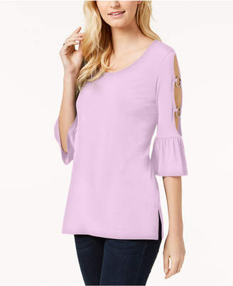 JM Collection Ring-Detailed Cutout Ruffle-Sleeved Top