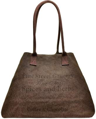 Vintage Addiction Pine Street Grocery Label Expandable Canvas Tote Bag