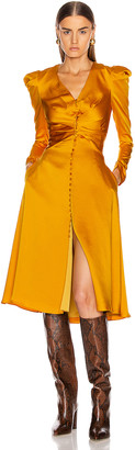 Jonathan Simkhai Ruched Front Sateen Dress in Turmeric | FWRD