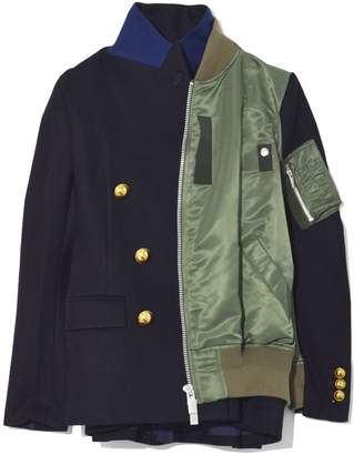 Sacai Melton Wool Nylon Cotton Jacket in Navy/Khaki