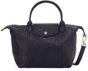 Longchamp Le Pliage Cuir Small Leather Top-Handle Bag with Strap - DARK BLUE - STYLE