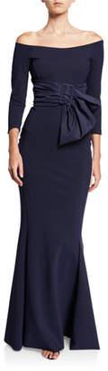 Chiara Boni Off-Shoulder 3/4-Sleeve Belted Gown