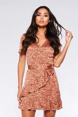 741518e1a8d9 Quiz Rust and Stone Satin Leopard Print Wrap Dress