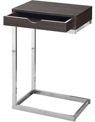 Monarch Accent Table Chrome Metal / Grey With A Drawer