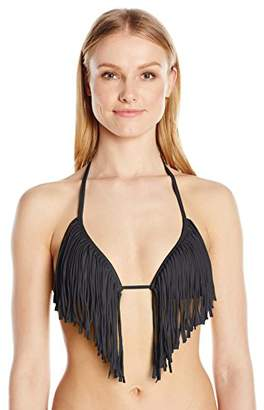 GUESS Women's Solid Padded Triangle Top Fringe