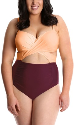 Lysa LYSA Burgundy Ruched One-Piece Swimsuit Plus Size - Carly