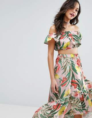 Asos Design Off Shoulder Crop Top in Tropical Floral Co-Ord