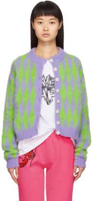 Ashley Williams Green and Purple Argyle Mimi Cardigan