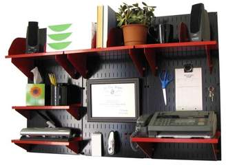 Wall Control Office Organizer Unit Wall Mounted Office Desk Storage and Organization Kit Black Wall Panels and Red Accessories