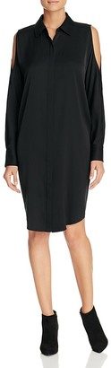 DKNY Cold Shoulder Silk Shirt Dress - 100% Exclusive $298 thestylecure.com